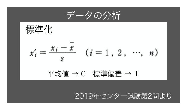 2019年センター試験数学の「データの分析」で出た変量の変換について